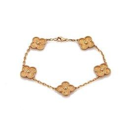 Van Cleef & Arpels Alhambra 18K Pink Gold 5 Charms Bracelet