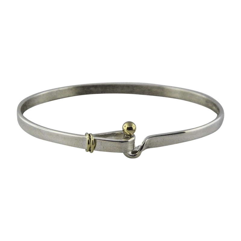 "Image of ""Tiffany & Co. Sterling Silver & 18K Yellow Gold Hook & Eye Bangle"""