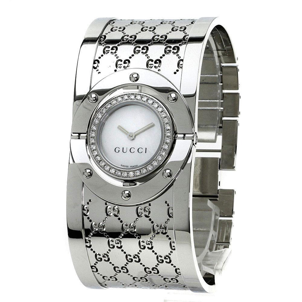 "Image of ""Gucci Ya112 Stainless Steel Diamond Bezel 23mm Women's Watch"""