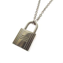 Hermes Cadena Silver Motif Necklace