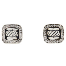David Yurman Sterling Silver with Diamond Cable Earrings