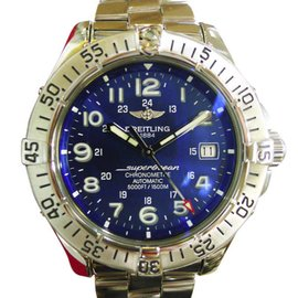 Breitling SuperOcean A17360 Stainless Steel Automatic Blue Dial 42mm Mens Watch