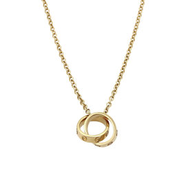 Cartier Love 18K Yellow Gold Mini Double Charm Rings Pendant Necklace