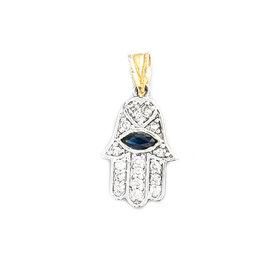 14K White & Yellow Gold with 0.17ct. Diamond & 0.40ct. Sapphire Hai Pendant