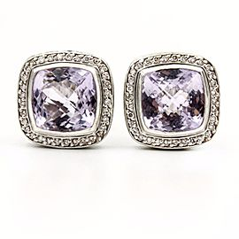 David Yurman 925 Sterling Silver and 18K Yellow Gold Lavender Amethyst and Diamonds Albion Stud Earrings