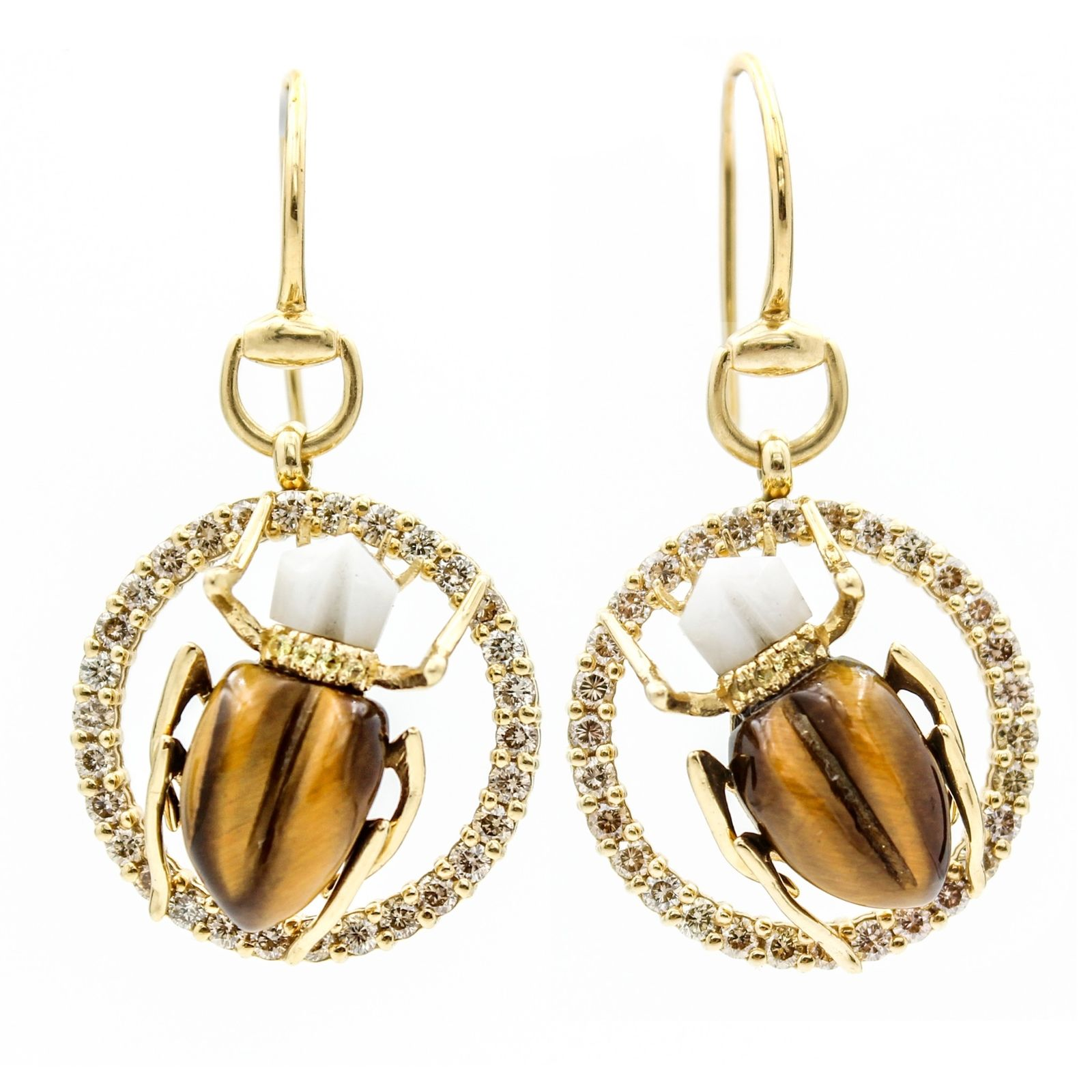 "Image of ""Gucci Scarab 18K Yellow Gold with Agate, Tiger Eye and Diamonds Hook"""
