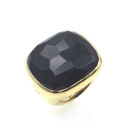 Pomellato Jet 18K Yellow Gold with Jet Black Gemstone Cocktail Ring Size 6.5