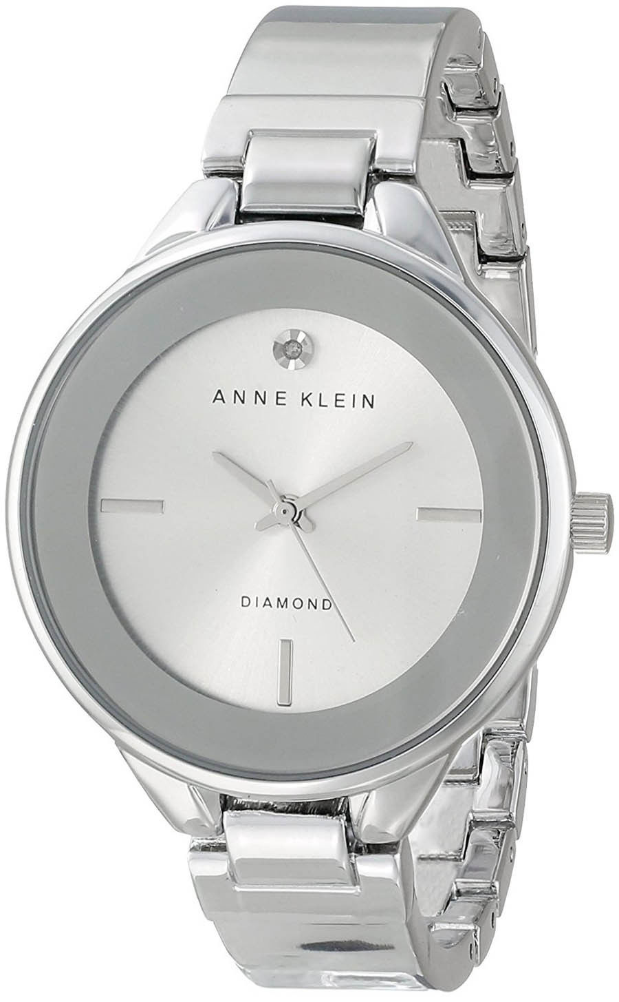 "Image of ""Anne Klein Ak/1411Svsv Stainless Steel Silver Diamond Dial 36mm Womens"""