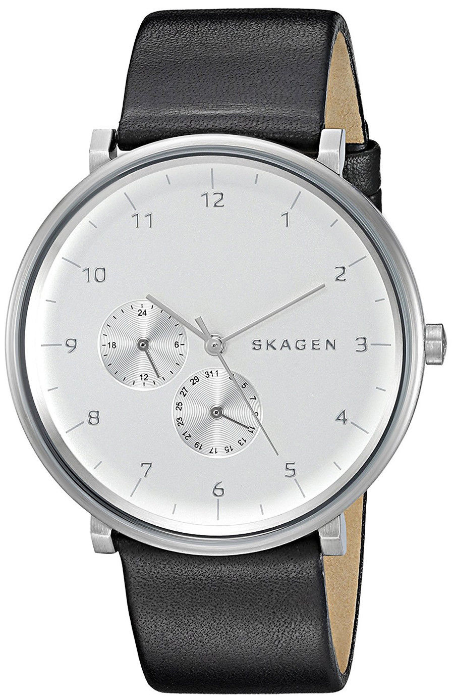 "Image of ""Skagen Skw6248 Stainless Steel & Black Leather Silver Dial Quartz 40mm"""