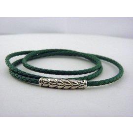David Yurman 925 Sterling Silver Green Chevron Triple-Wrap Bracelet