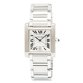 Cartier Tank Francaise 2302 Stainless Steel Silver Dial Automatic 28mm Unisex Watch