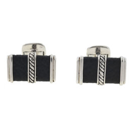 David Yurman 925 Sterling Silver & Black Leather Cable Cufflinks