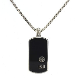 David Yurman 925 Sterling Silver with Black Onyx Dog Tag Cable Pendant Necklace