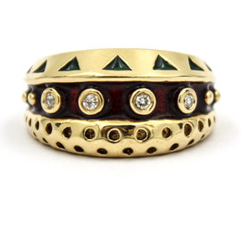 Vintage 14K Yellow Gold Red and Green Enamel with Diamonds Ring Size 6.5