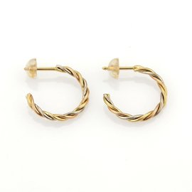 Cartier Trinity 18K White, Yellow and Rose Gold Twisted Semi Hoop Earrings