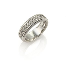 Marco Bicego 18K White Gold with Diamond Band Ring Size 7.5
