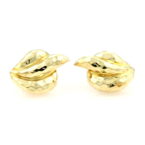"Image of ""Henry Dunay 18K Yellow Gold Hammered Facets Curve Earrings"""