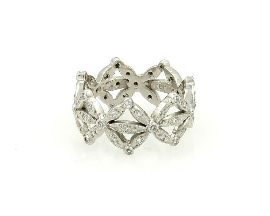 "Image of ""Cathy Waterman Platinum & 0.40ct Diamond Floral Crown Design Band Ring"""