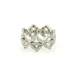 Cathy Waterman Platinum & 0.40ct Diamond Floral Crown Design Band Ring Size 5.25