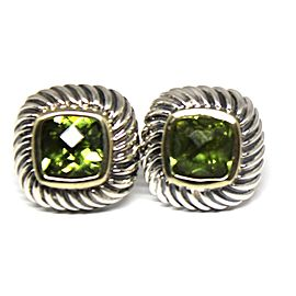 David Yurman 925 Sterling Silver & 14K Yellow Gold Albion Peridot Earrings