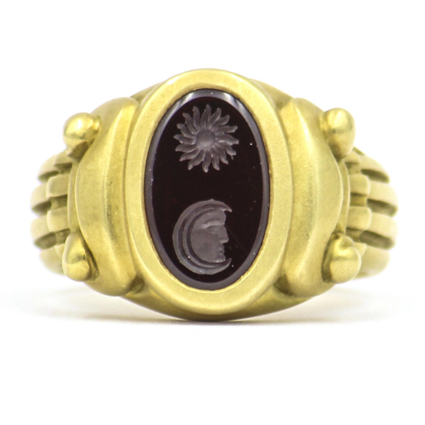 "Image of ""Kieselstein-Cord 18K Yellow Gold & Garnet Sun Moon Intaglio Ring Size"""