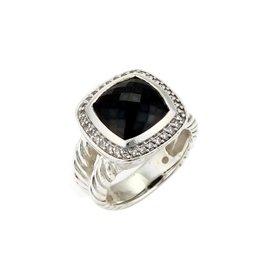 David Yurman Albion 925 Sterling Silver with Diamond & Onyx Ring Size 7