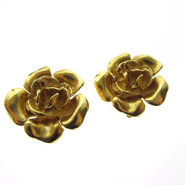 Chanel Gold Tone Hardware Camelia Earrings