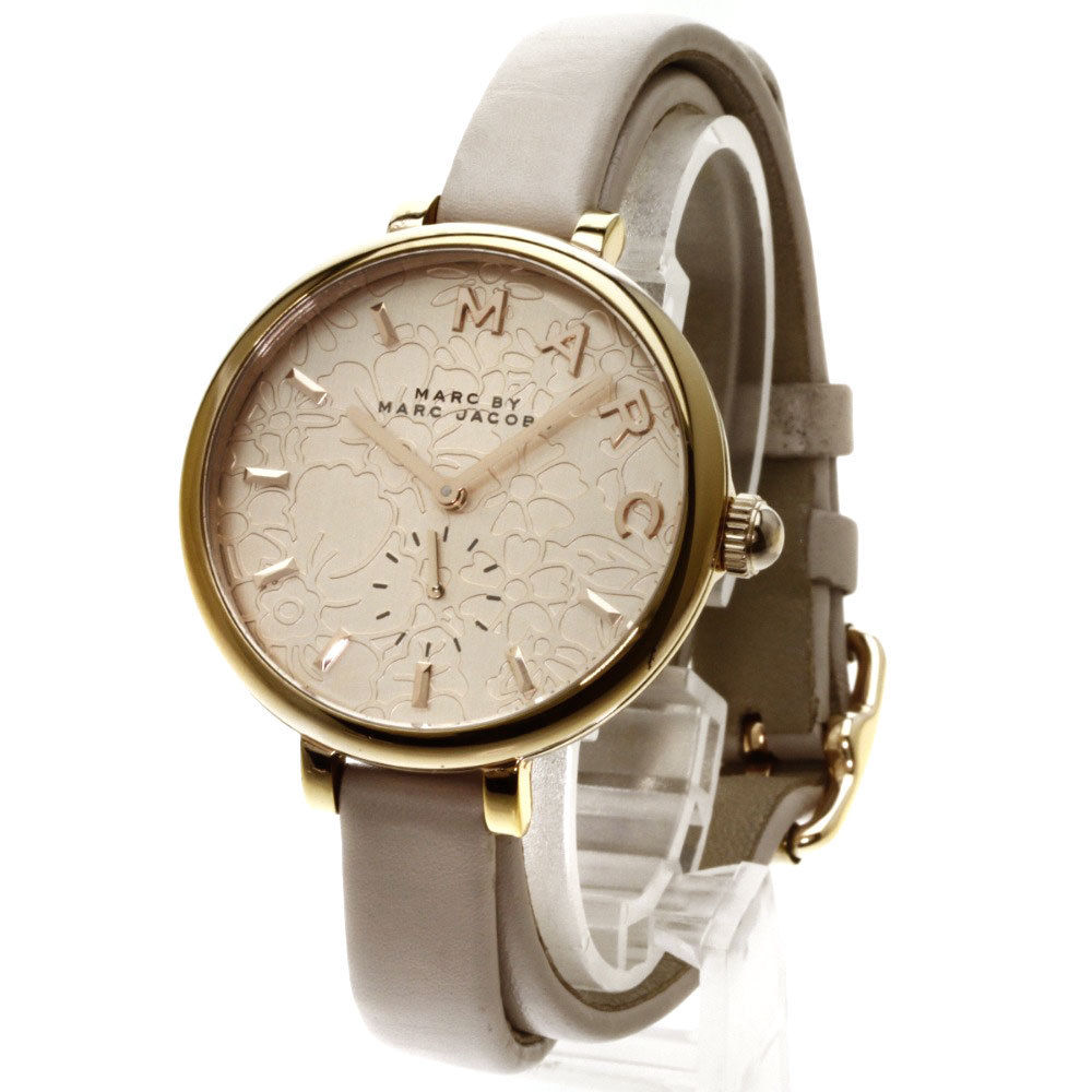 "Image of ""Marc by Marc Jacobs MJ 1418 Gold Plated & Leather Quartz 36mm Womens"""