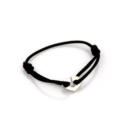Cartier 18K White Gold Heart Charm Black Cord C Hearts Bracelet