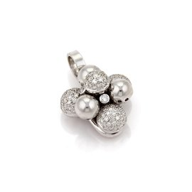 18K White Gold with 1.75ct. Diamond & Cluster Bead Floral Pendant