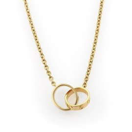 Cartier Baby Love 18K Yellow Gold Double Mini Ring Pendant Necklace