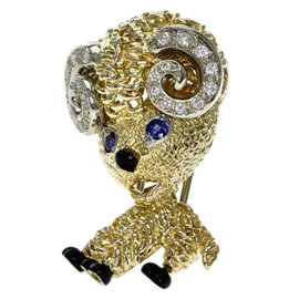 Van Cleef & Arpels 18K Yellow Gold with Sapphire, Diamond and Onyx Sheep Brooch