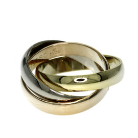 Cartier 18K Yellow, White and Rose Gold Trinity Ring Size 3