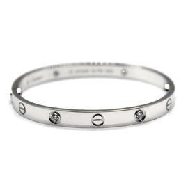 Cartier Love 18K White Gold Diamond Bracelet Size 17