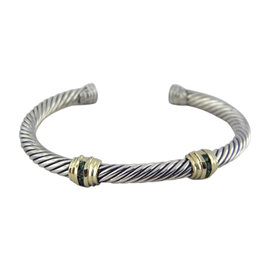 David Yurman Cable Classics Double-Station Sterling Silver and 14K Yellow Gold Emerald Bracelet