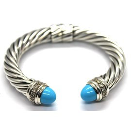 David Yurman 925 Sterling Silver with Turquoise & Diamond Classic Cable Cuff Hinge Bracelet