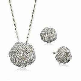 Tiffany & Co. Sterling Silver Twist Knot Pendant Necklace & Earrings Set