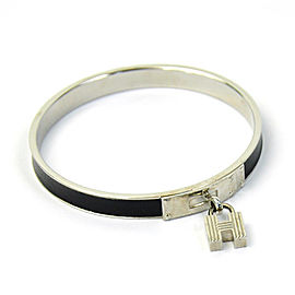 Hermes H Lock Metal Leather Bangle Bracelet