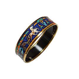Hermes Metal Blue Printed Enamel Earrings