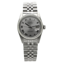 Rolex DateJust Stainless Steel Roman Silver Dial Mens 36mm Watch