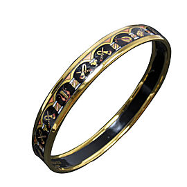 Hermes Gold Tone Metal Cloisonne Bangle