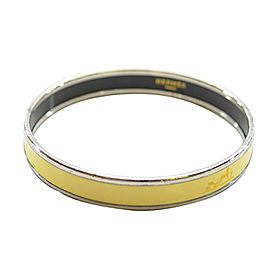 Hermes Silver Tone Metal Yellow Enamel Bangle