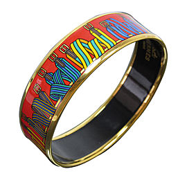Hermes Gold Tone Metal Red Cloisonne Bangle