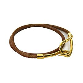 Hermes Gold Tone Metal Brown Leather Bracelet
