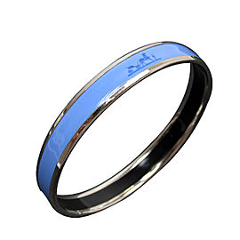 Hermes Silver Tone Metal Blue Enamel Bangle