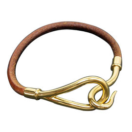 Hermes Brown Leather Gold Tone Metal Bracelet