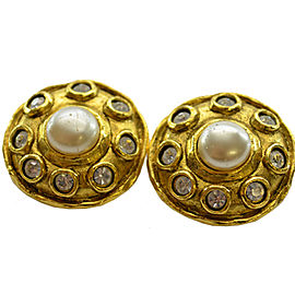 Chanel Metal And Imitation Pearl Earrings