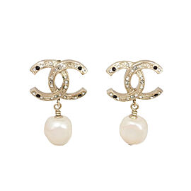 Chanel Gold Tone And Stone Earrings