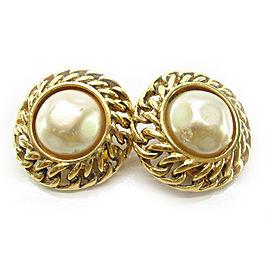 Chanel Gold Tone Metal Imitation Pearl Earrings