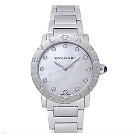 Bulgari White Mother of Pearl Diamond Dial Stainless Steel 37mm Ladies Watch